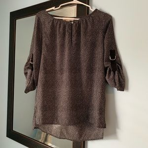 Michael Kors Patterned Blouse with Sleeve Detail